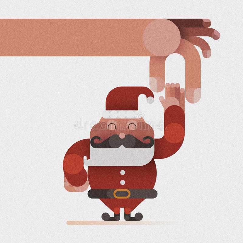 Hand catch the Santa claus's hand by Christmas concept vector illustration