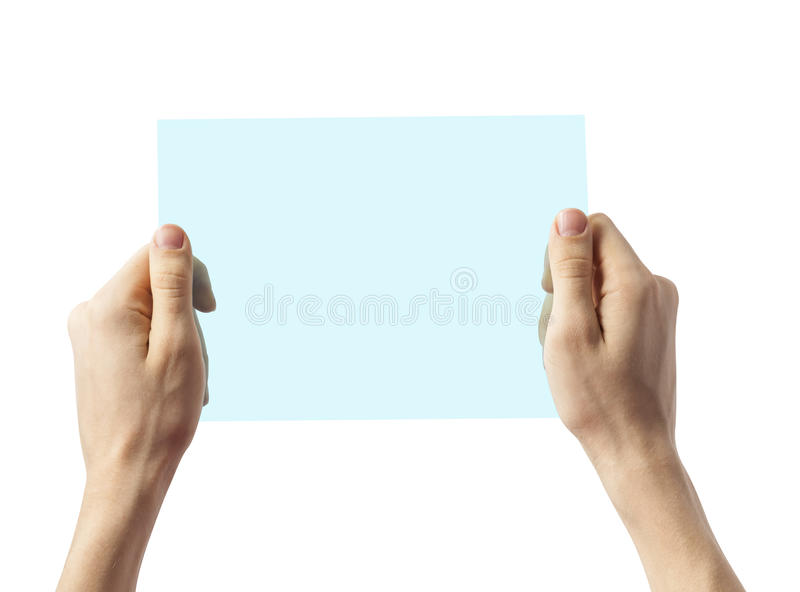 Hand of a caucasian female holding transparent blue plastic device, isolated on white stock photography