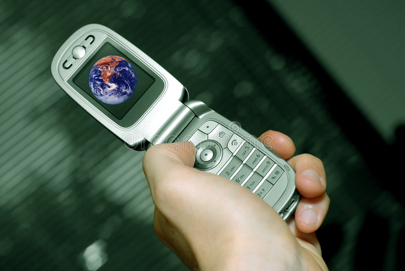 Hand and cell phone stock photography