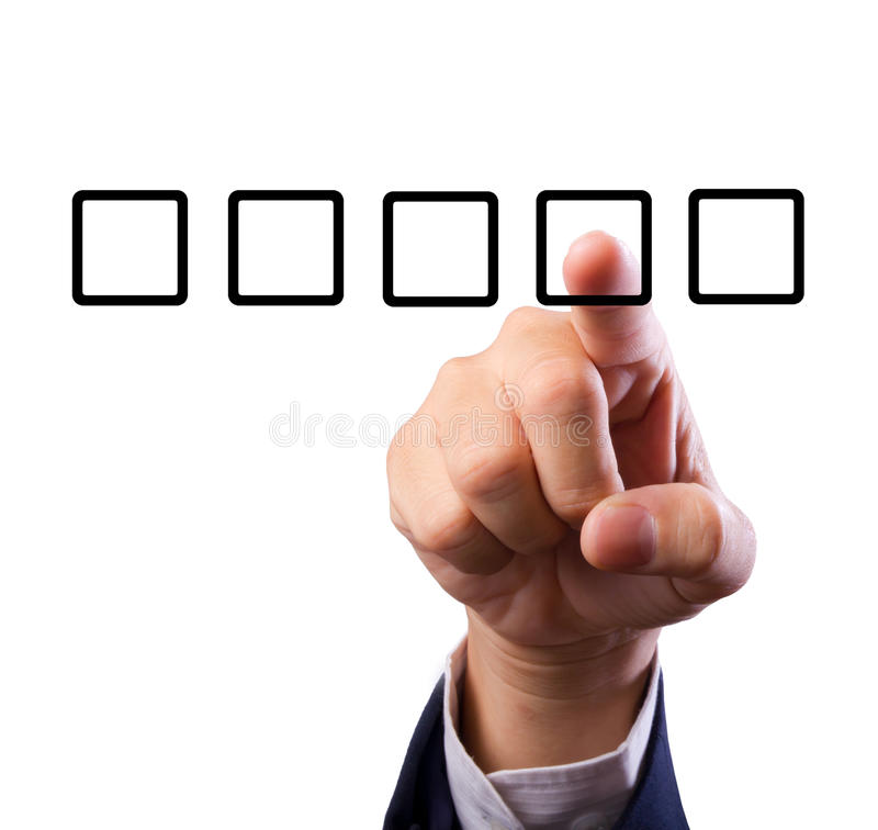 Hand with check box. Business man hand choose check box isolated royalty free stock image
