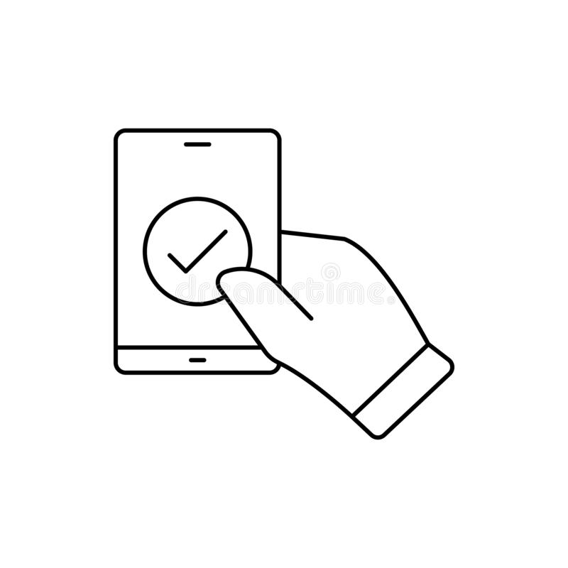 Hand check smartphone icon. Element of user experience icon. On white background stock illustration