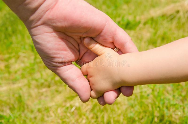 Hand of a child in the father`s hand close-up royalty free stock photography