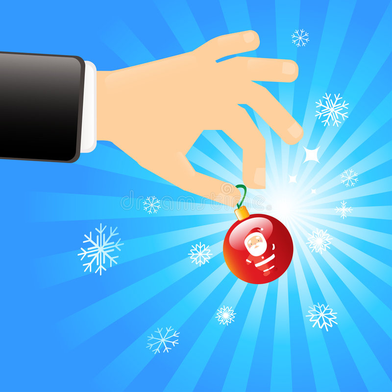 Hand with Christmas decoration. Illustration of a hand holding a red Christmas tree decoration with a vibrant blue and white background with snowflakes vector illustration