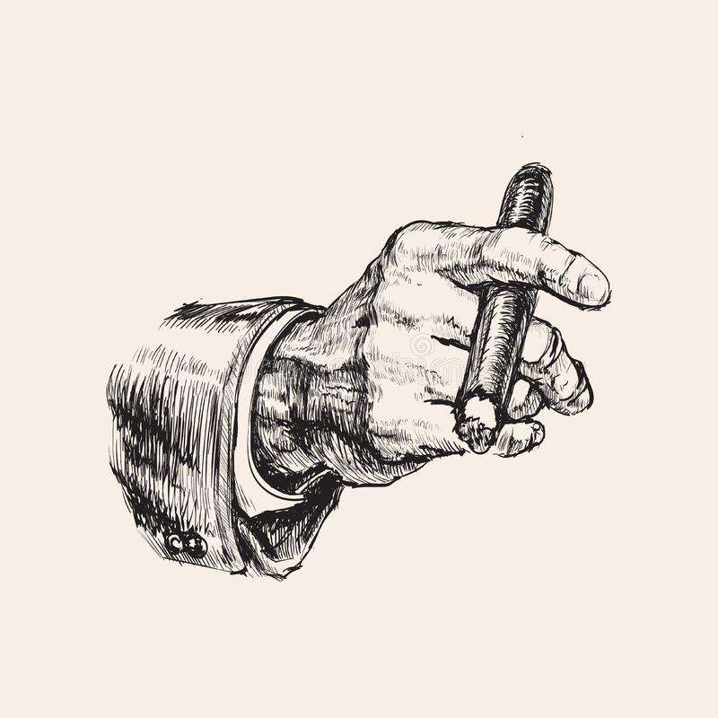 Hand With Cigar Hand Drawn Vector Illustration.  vector illustration