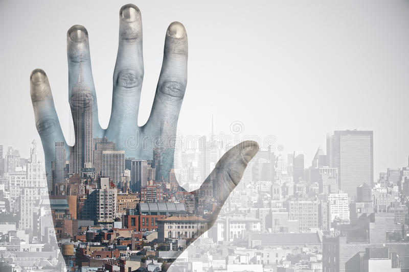 Hand on city background vector illustration