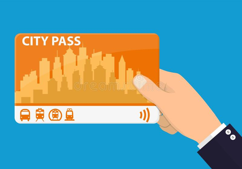 Hand with city pass. royalty free illustration