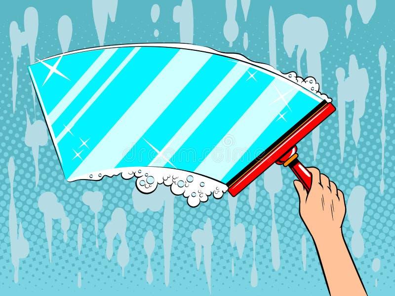 Hand clean window pop art vector illustration stock illustration