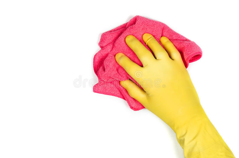Hand cleaning against a white background royalty free stock photography