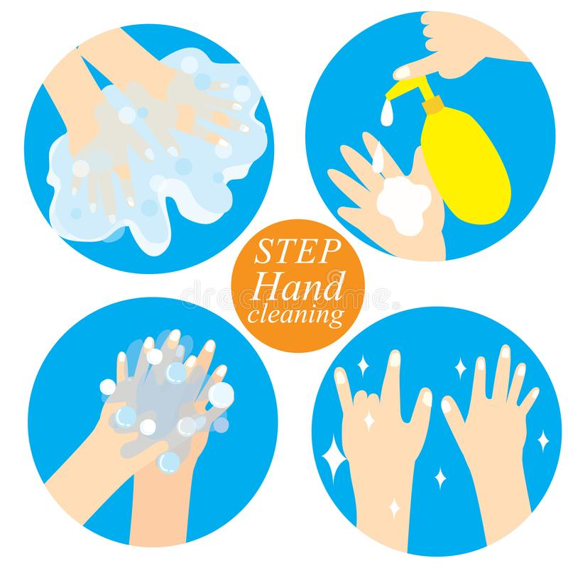 Hand and cleaning step vector stock photo