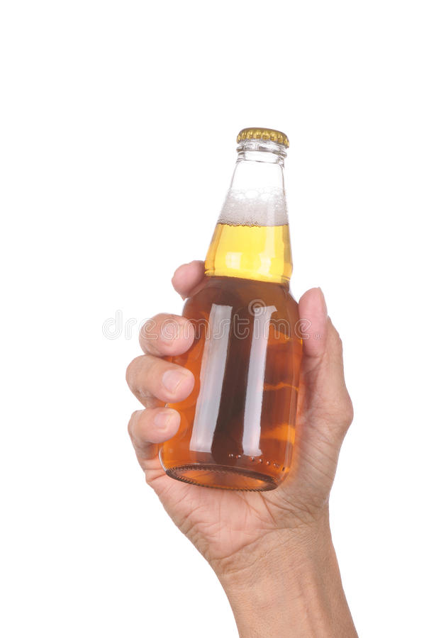 Hand With Clear Beer Bottle Stock Photos