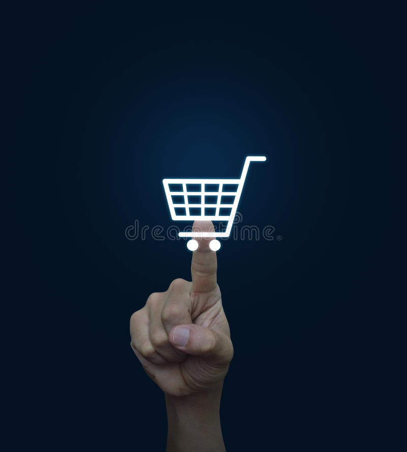 Hand click businessman icon over blue background, Connection con. Cept royalty free stock image