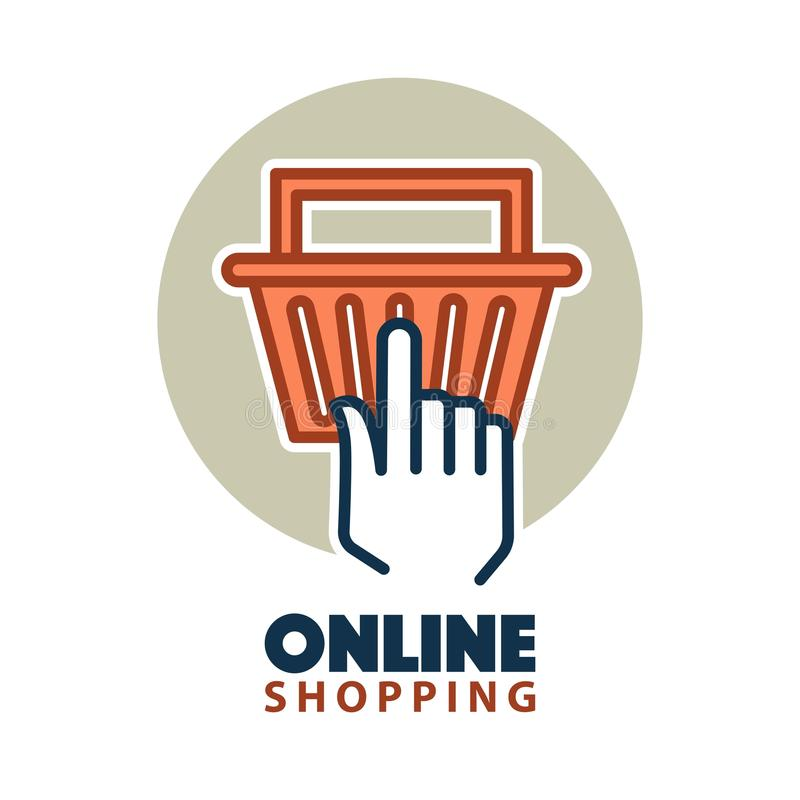 Hand clicking on a basket. Online shopping concept with a hand clicking on a bag for checkout. Vector illustration vector illustration