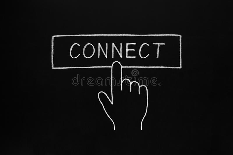 Download Hand Clicking Connect Button Stock Photo - Image of board, black: 30871178