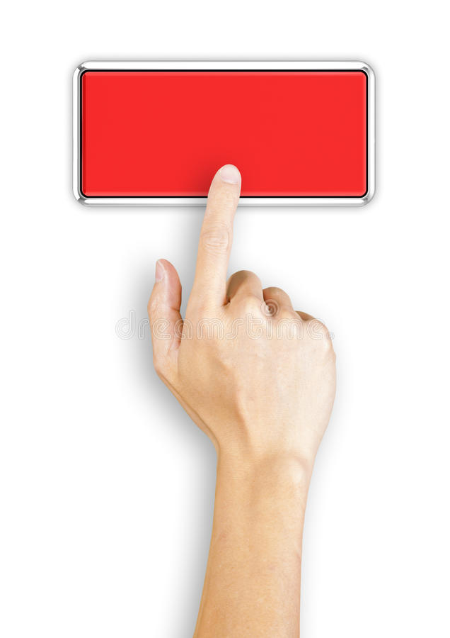 Hand clicking a red button, top view. Hand clicking a 3d rendered red button, top view stock images