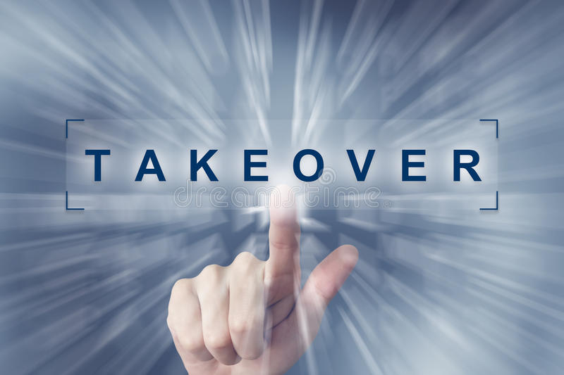 Hand clicking on takeover button. With zoom effect background royalty free stock images