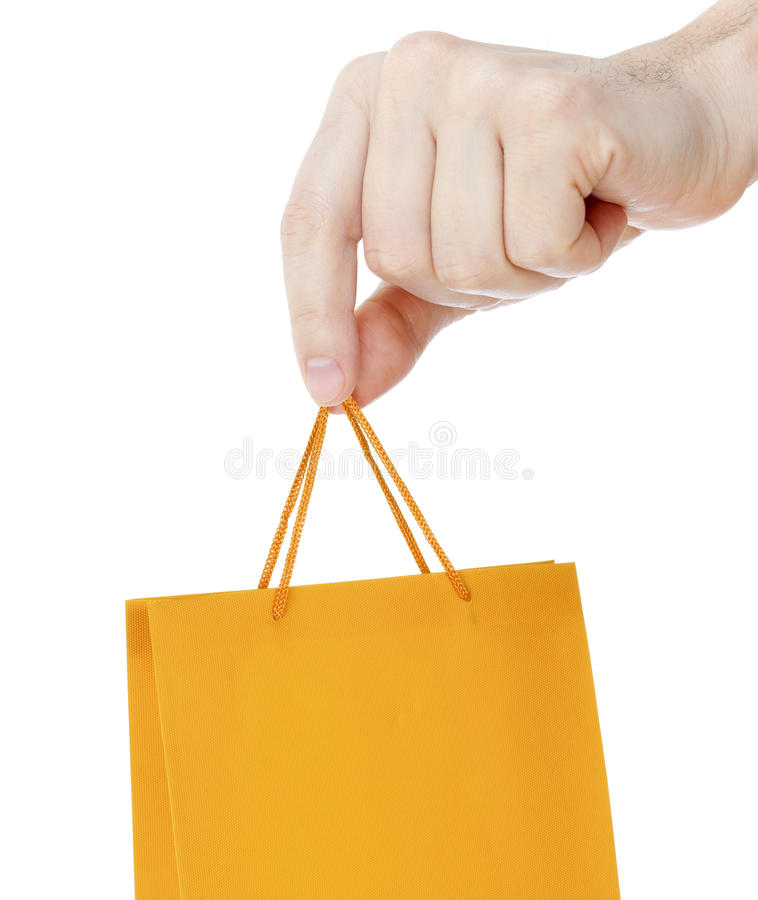 Hand Close Up With Orange Shopping Bag Isolated Stock Photos