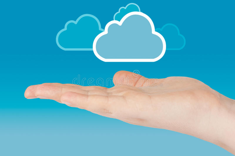 Download Hand with cloud stock image. Image of woman, solution - 23955111