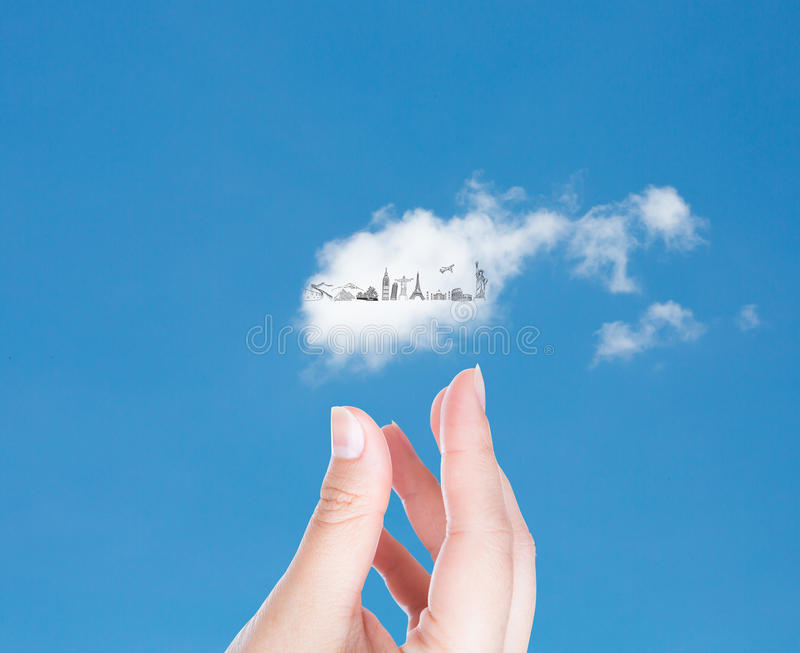 Hand with cloud of travel. In blue sky (Japan,France,Italy,New York,India,egypt stock illustration