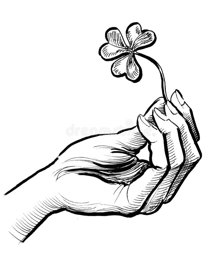 Hand with a clover. Retro styled ink drawing of a hand holding a clover leaf royalty free illustration