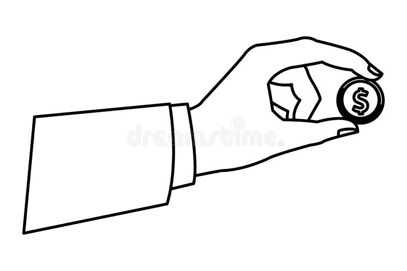 Hand with coin. Drawing in white background vector illustration graphic design royalty free illustration