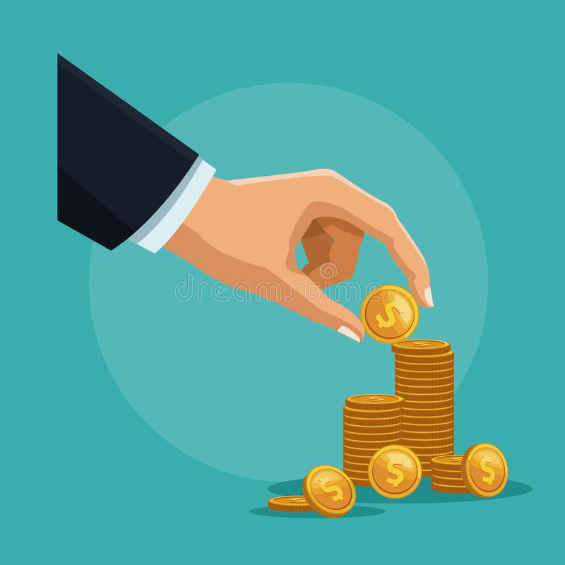 Hand with coin vector illustration