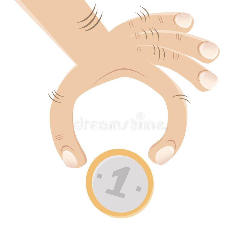 Hand and a coin vector illustration