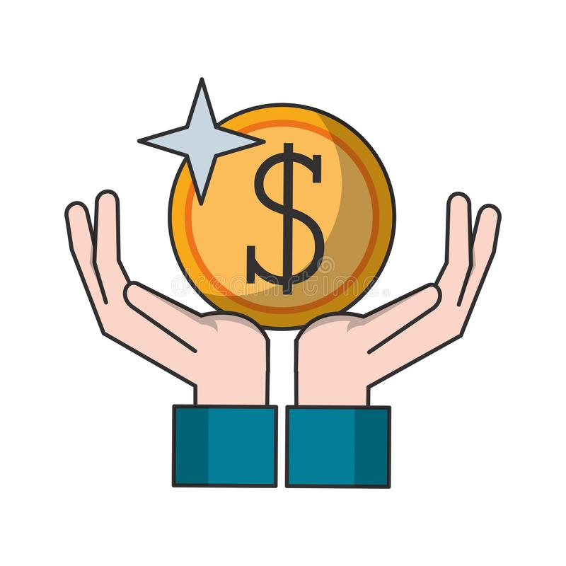 Hand with coin money symbol vector illustration