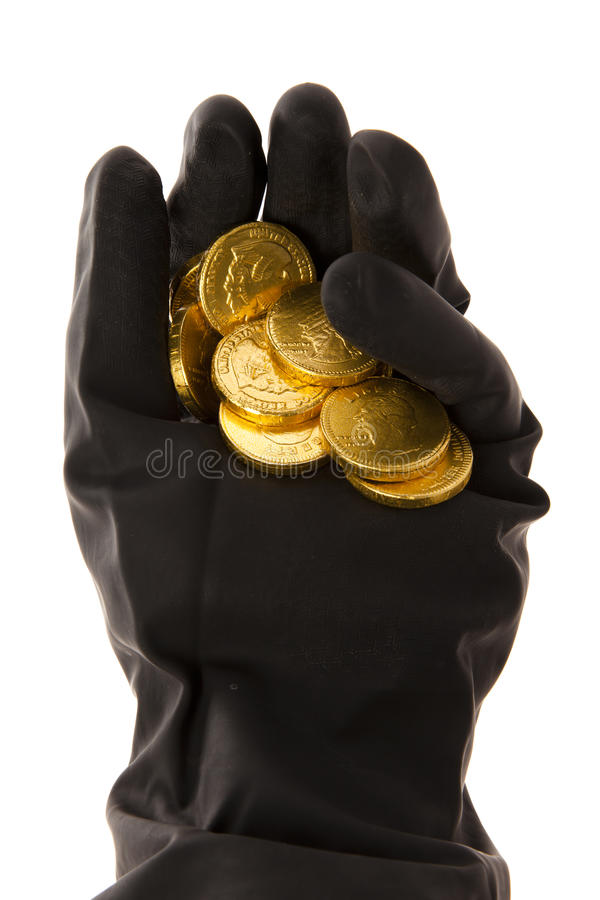 Download Hand with coins stock photo. Image of black, thief, coin - 28345464