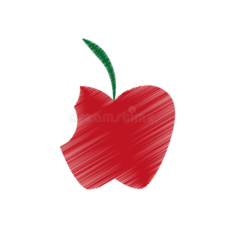 Hand colored drawing apple bite icon royalty free illustration