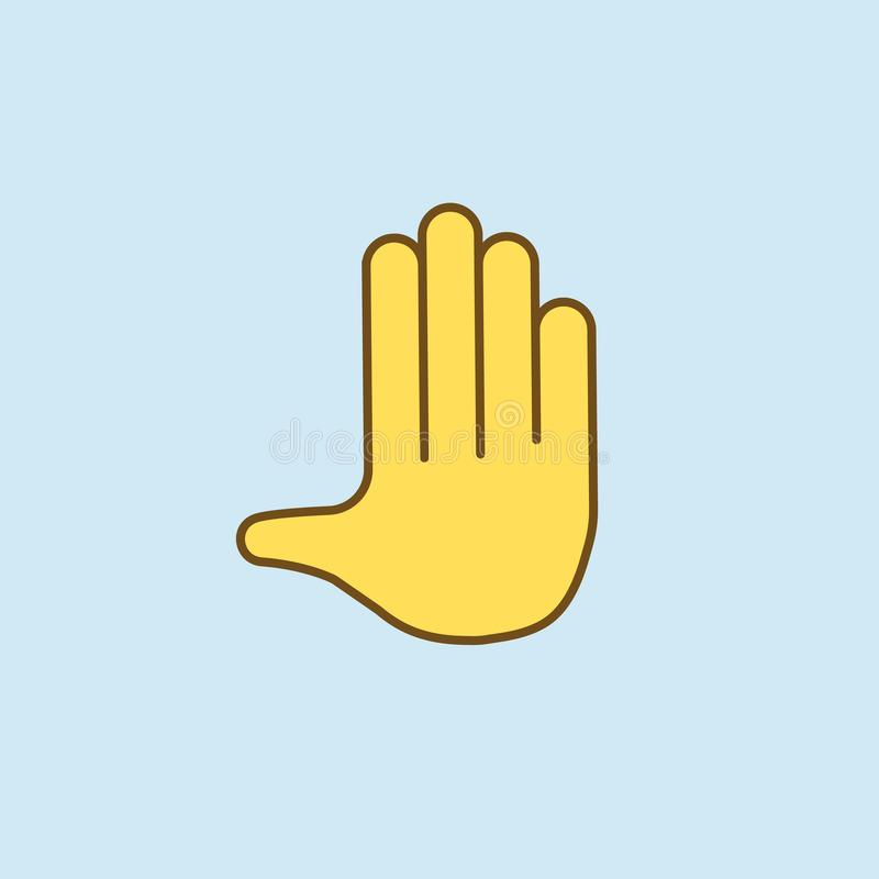 by hand 2 colored line icon. Simple yellow and brown element illustration. by hand concept outline symbol design from emoji set royalty free illustration