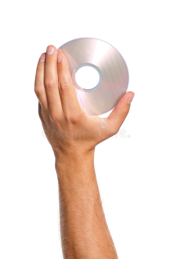 Hand with compact disc. Man hand with compact disc isolated on white background stock photo