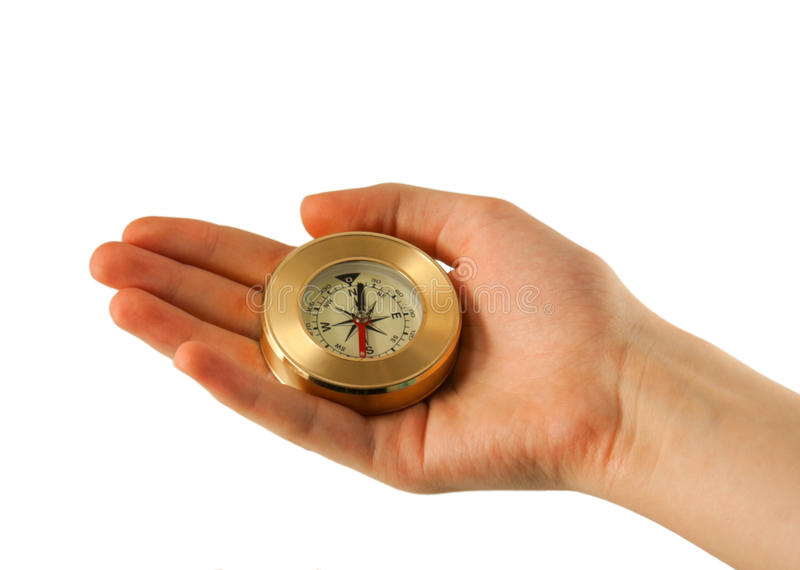 Hand with compass royalty free stock photography