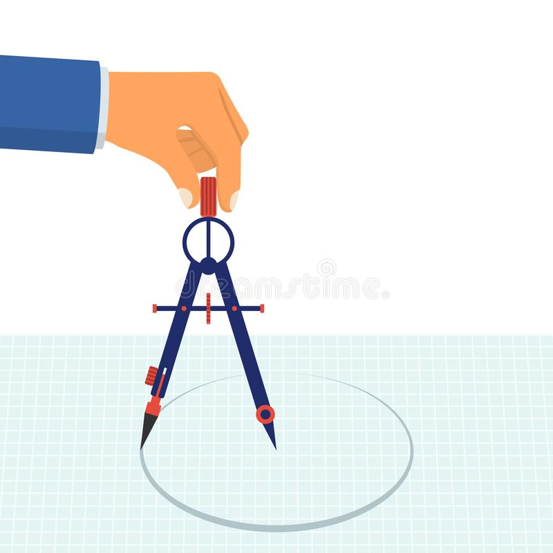 Hand with compass for drawing. stock illustration