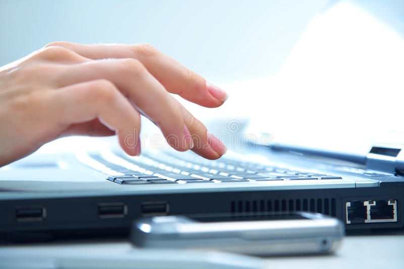 Download Hand  on computer keyboard stock image. Image of board - 22125141
