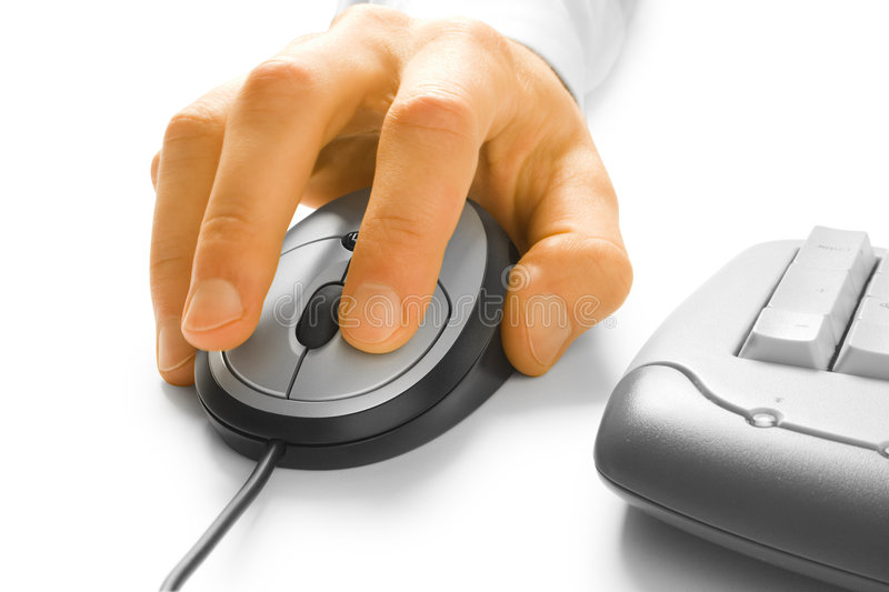 Hand and computer mouse. On white royalty free stock photos