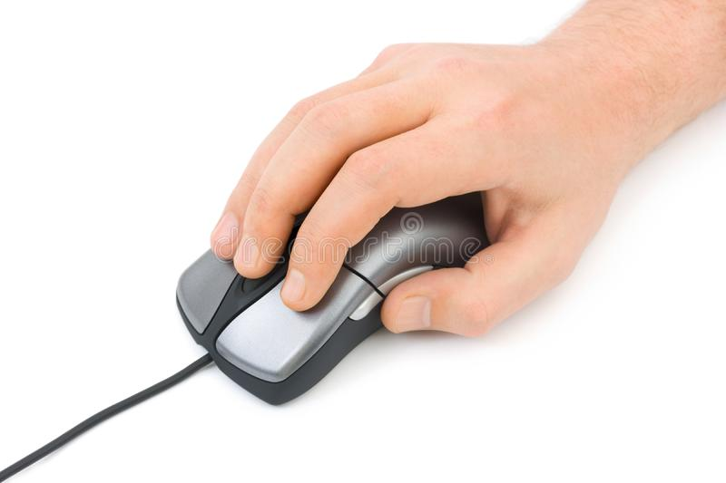 Hand and computer mouse royalty free stock photography
