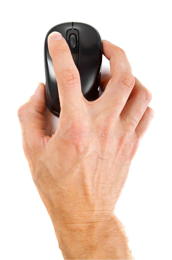 Hand with computer mouse isolated on white stock photo