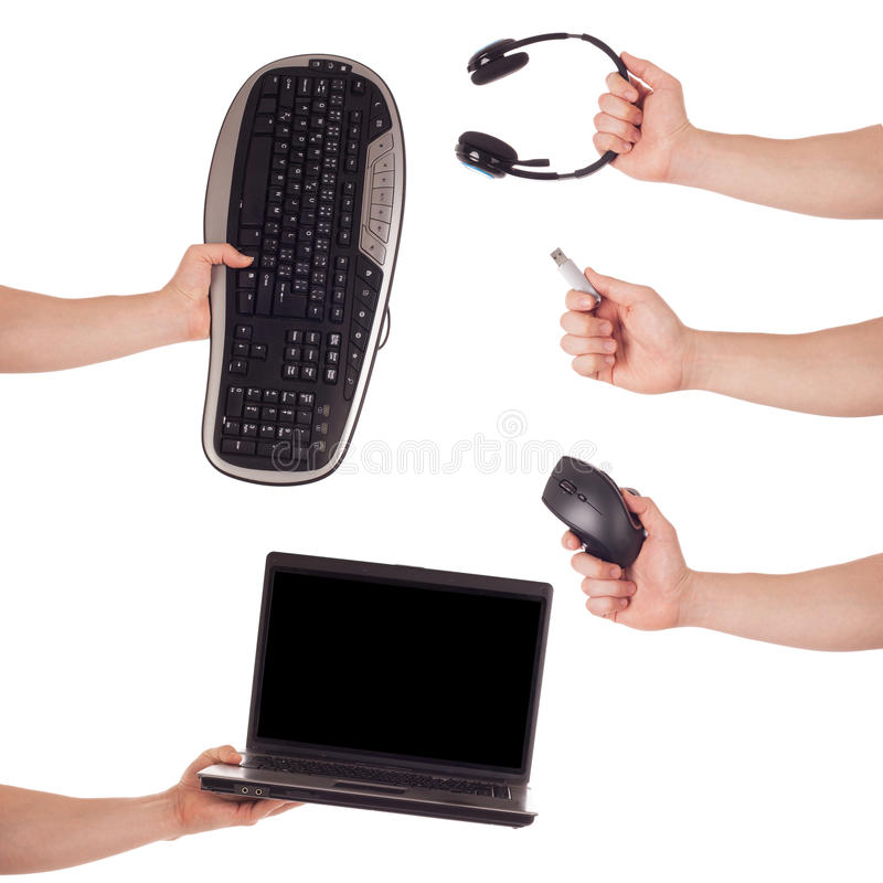 Hand computer technology set royalty free stock photo