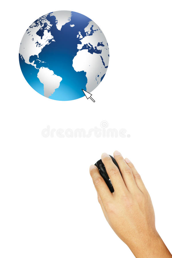 Hand connect to the world. Hand with mouse connect to the world royalty free stock photos