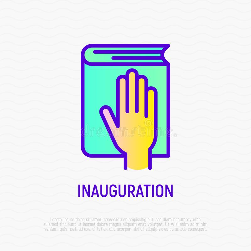 Hand on constitution icon, oath on inauguration. Hand on constitution thin line icon, oath on inauguration. Modern vector illustration stock illustration