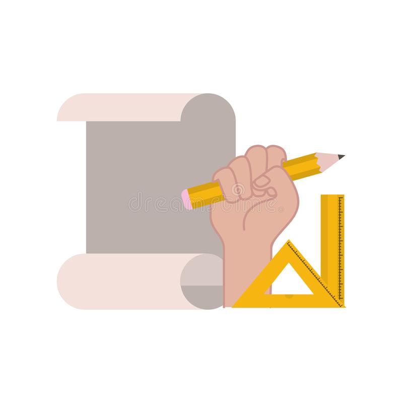 Hand with construction plan isolated icon stock illustration