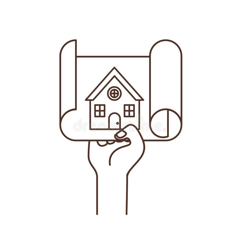 Hand with construction plan isolated icon royalty free illustration