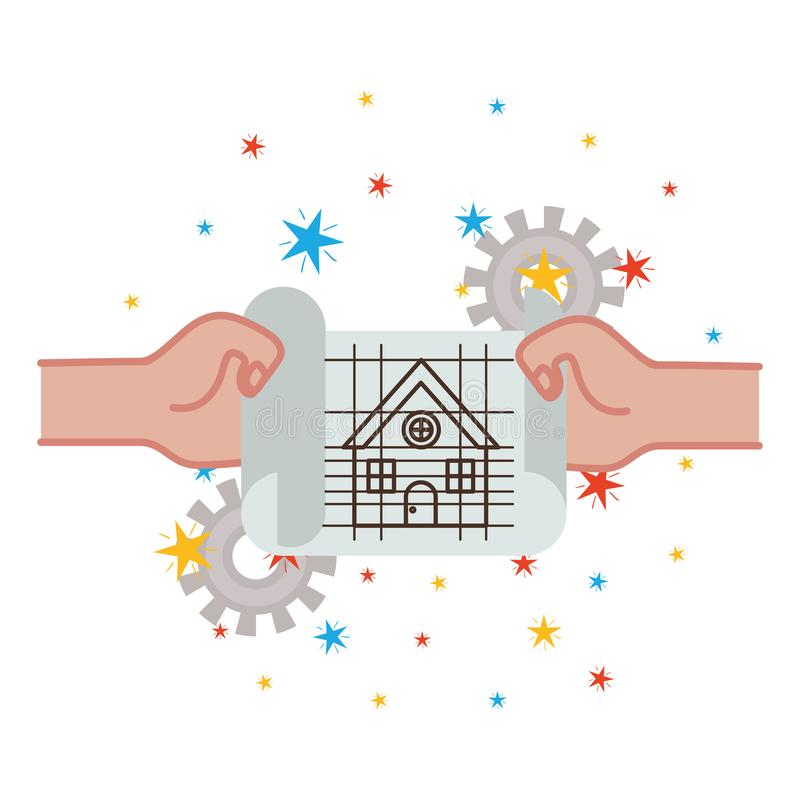 Hand with construction plan isolated icon vector illustration