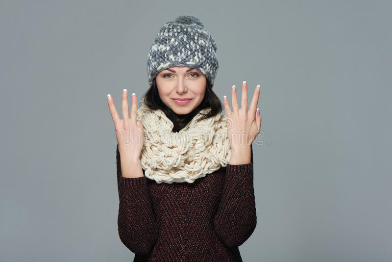 Hand counting - eight fingers royalty free stock photography