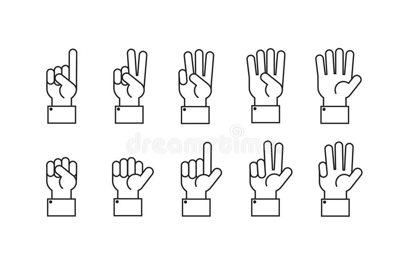 Hand with counting fingers vector line symbols stock illustration