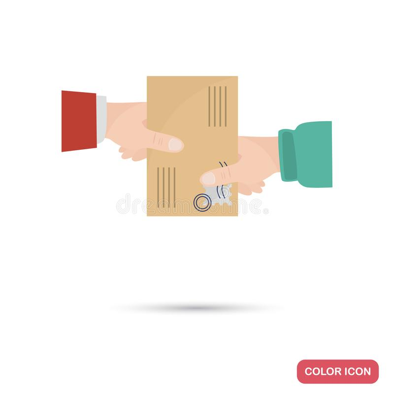 The hand of the courier gives the recipient a letter color flat icon stock illustration