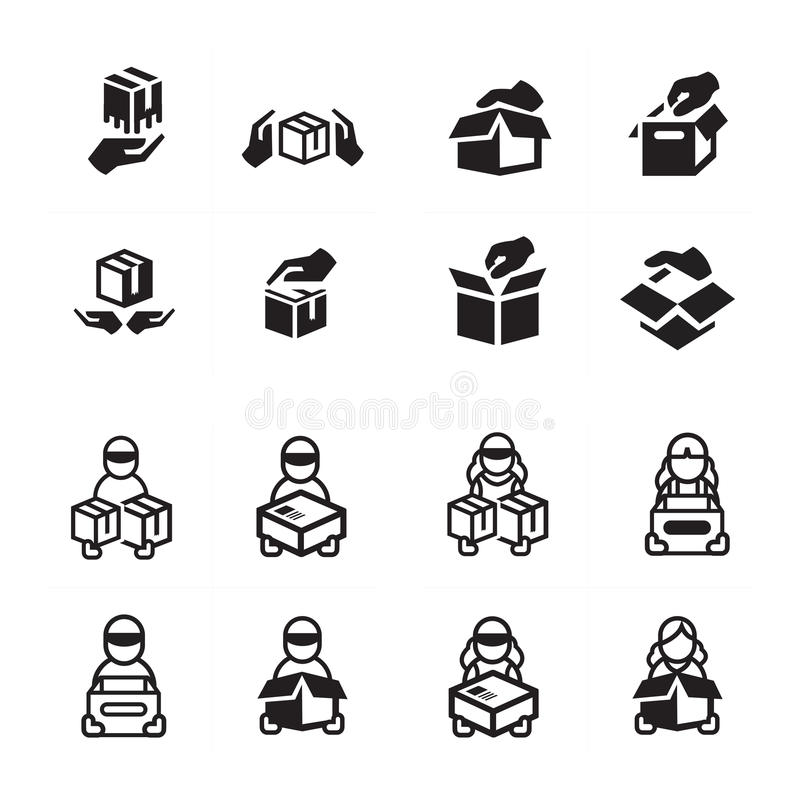 Hand and courier icon set royalty free stock photography
