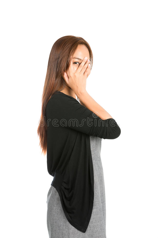 Free Hand Covering Face Eye Peeking Finger Asian Woman Stock Photography - 58956462