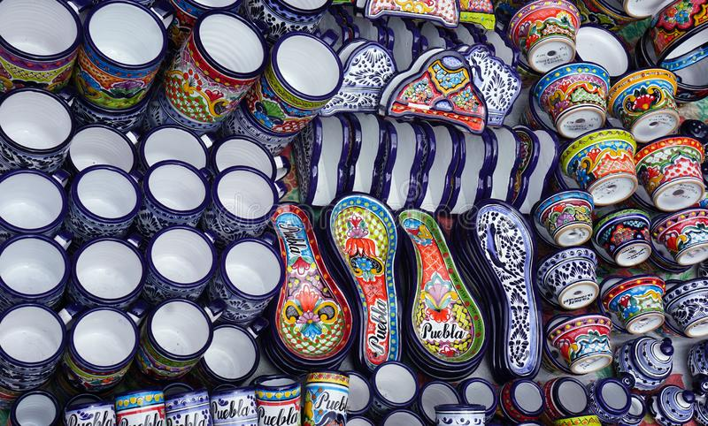 Famous mexican talavera hand crafts stock photography