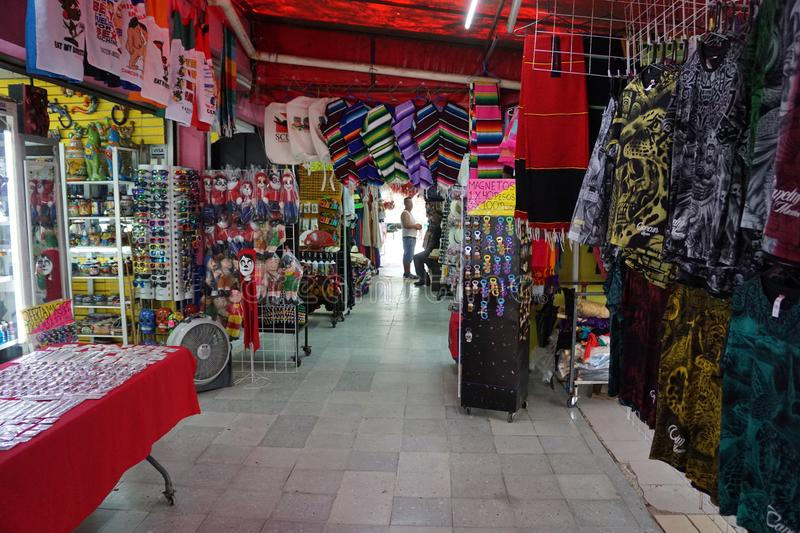 Hand craft market in Cancun mexico. 28 market famous for sell cheap hand crafts, gifts and clothes in the cancun downtown area, mexican caribbean memorabilia stock photography